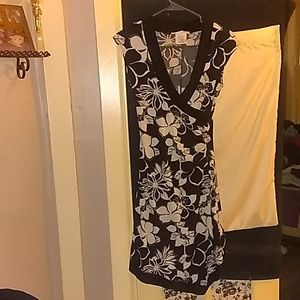 Women's Black and White Floral Dress